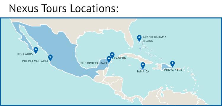 Nexus Destinations map