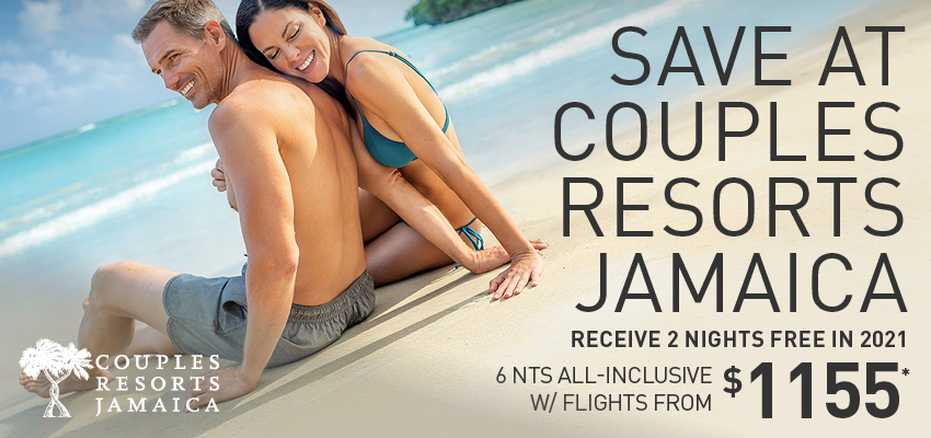 Save at Couples Resorts 6th Night Free for 2020 Vacations 6nts All-Inclusive w/ Flights from $829*
