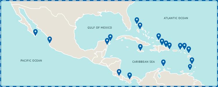 mexico caribben map